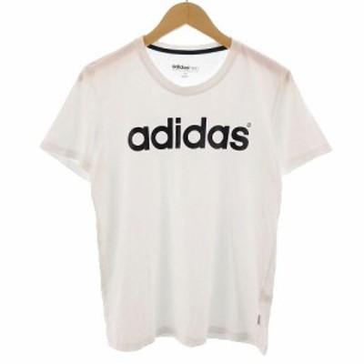 【中古】アディダス adidas neo Tシャツ 半袖 丸首 ロゴ ホワイト 白 M レディース