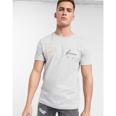 リバーアイランド メンズ シャツ トップス River Island t-shirt with prolific embroidery in gray