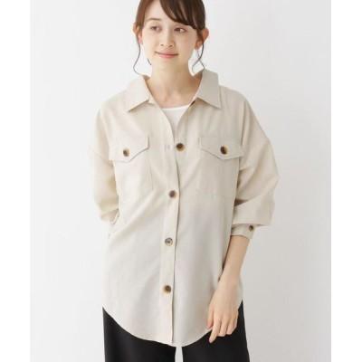 SHOO・LA・RUE/シューラルー 【M-LL】ドロップショルダーダブルポケットシャツ ナチュラル(050) 02(M)