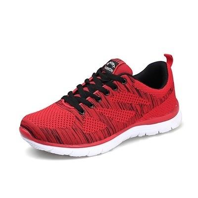 スニーカー メンズ スポーツシューズ ランニングシューズ 赤 レッド 軽量 通気 メッシュ 衝撃緩和 ジョギング ウォーキング 運動靴