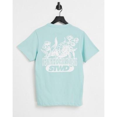 プル&ベアー Pull&Bear メンズ Tシャツ トップス T-Shirt With Back Print In Sage セージ