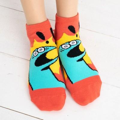 (ギャルと恐竜) 恐竜びっくり柄 スニーカー丈ソックス (23-25cm)(おまけシール付き) レディース 靴下