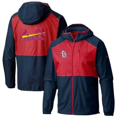 コロンビア ジャケット&ブルゾン アウター メンズ St. Louis Cardinals Columbia Flash Forward FullZip Team Windbreaker Jacket Navy