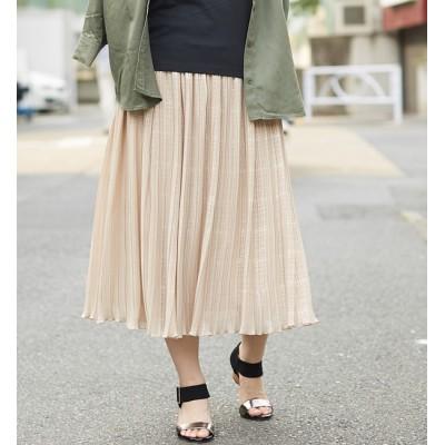 【アルカリ/alcali】 【WEB限定】alcali/箔ボーダープリーツスカート