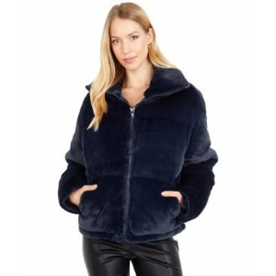 アッパリス レディース コート アウター Billie Zip Front Short Faux Fur Coat Navy Blue