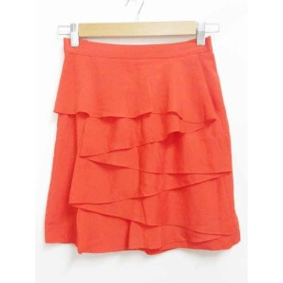 【中古】フリーズフレーズ FREE'S PHRASE フレアスカート 膝丈 薄手 無地 オレンジ M レディース