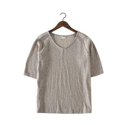 【HEMP SHOW】レディース七分袖Tシャツ 色織り 先染め織物 ヘンプ・オーガニックコットン (ブラウン)