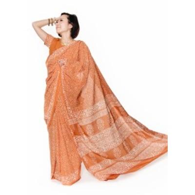 【送料無料】 〔チョリ付き〕昔ながらのコットンサリー 伝統柄 / 民族衣装 デコレーション布 インド 更紗 インドサリー レディース エス