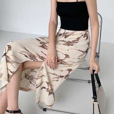アシンメトリー スリット入りロングスカート ベージュ フリーサイズ スカート ボトムス カジュアル きれいめ 韓国ファッション 中国ファッション ギャル