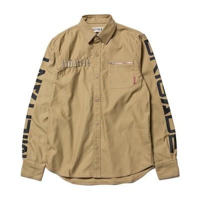ナインルーラーズ 長袖 NINE RULAZ LINE Military Shirt ミリタリーシャツ カーキ