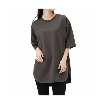 (MAC HOUSE(women)/マックハウス レディース)NAVY ネイビー オーガニックコットン ヘビーウェイトチュニックTシャツ OGCS0101/レディース チャコール