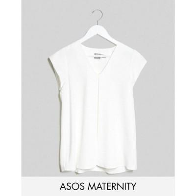 エイソス ASOS DESIGN レディース ブラウス・シャツ マタニティウェア Vネック トップス Maternity v neck origami blouse in white ホワイト