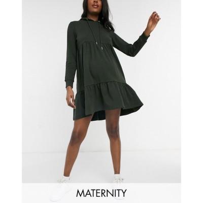 ママリシャス Mama.licious レディース ワンピース マタニティウェア パーカーワンピース Mamalicious Maternity Hoodie Smock Dress In Green グリーン