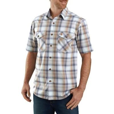 カーハート シャツ トップス メンズ Carhartt Men's Bozeman Button-Front Plaid Short Sleeve Shirt SoftBlue