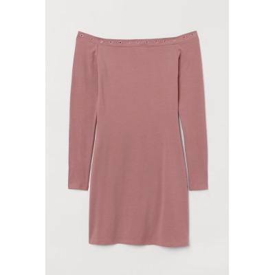 H&M - ジャージーオフショルダーワンピース - ピンク