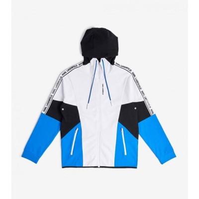 カール ラガーフェルド Karl Lagerfeld メンズ パーカー トップス color block zip hoodie BLUE