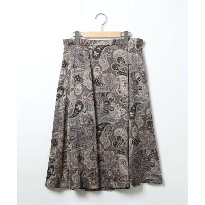 SCAPA Lサイズ/スキャパエルサイズ サテンペーズリープリントスカート ブルー 42