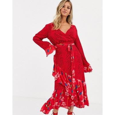ダークピンク ミディドレス レディース Dark Pink wrap front midaxi dress in dark floral print エイソス ASOS マルチカラー