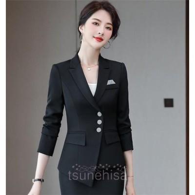 テーラードジャケットレディースジャケット春通勤長袖スーツジャケット2021