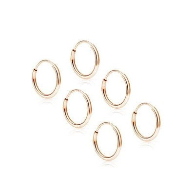 SOLIDGOLD - 14K Endless Rose Gold 10mm Infinity Hoop Sleeper Earrings 3 Pair Set【並行輸入品】
