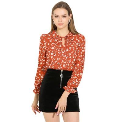 uxcell Allegra K 花柄 ブラウス シャツ ボウタイ Vネック 襟付き 長袖 薄手 レディース 赤味がかったオレンジ S