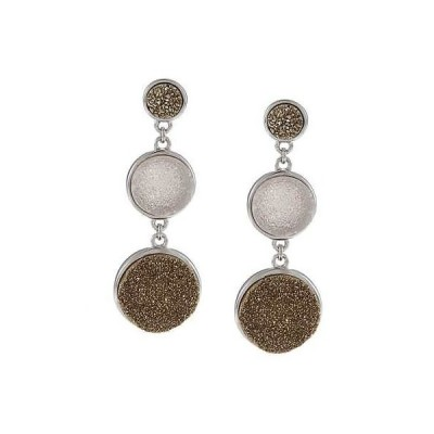 ラプレシオサ ジェムストーン La Preciosa Sterling Silver Graduated Gold and Light Pink Druzy Earrings