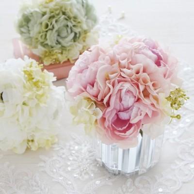 【倉庫出荷】造花 ピオニー ラベンダーピンク/ホワイト/グリーン 花束 アーティフィシャルフラワー