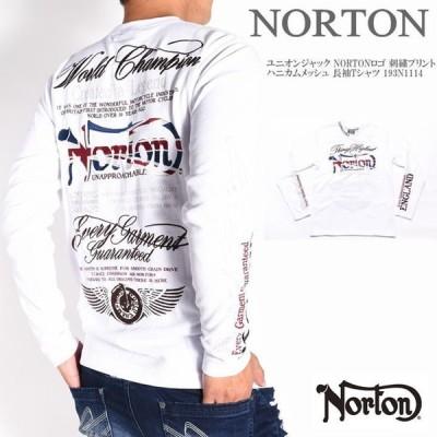 ノートン NORTON ロンT ユニオンジャック NORTONロゴ 刺繍プリント ハニカムメッシュ 長袖Tシャツ 193N1114-001WHITE