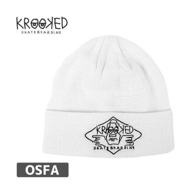 KROOKED クルックト スケボー ニットキャップ  ARKETYPE 2 EMBROIDERED CUFF BEANIE 折り返し  ホワイト  NO7