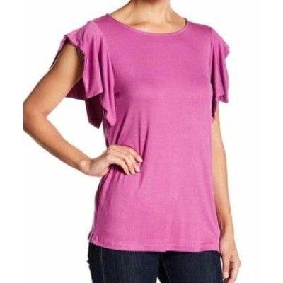 MELLODAY  ファッション トップス MELLODAY Womens Pink Size Medium PM Petite Ruffled Shoulder Knit Top #368