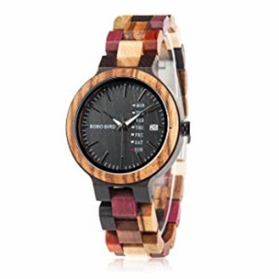 Womens Watches Wooden Colorful Bamboo Watches with Week Date Display Handmade Natural Wood Casual Wirst Watches for Ladies, Fema