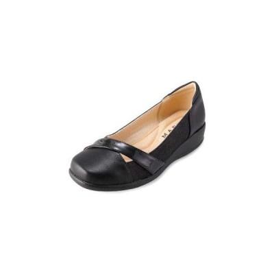 パンプス 痛くない 歩きやすい ローヒール 黒 ブラック 5E ウエッジソール tcac0672ブラック×25.0cm