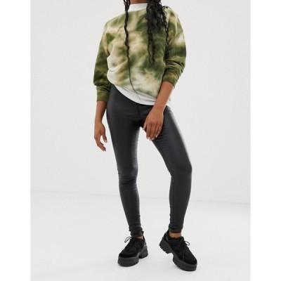 ノイジーメイ レディース デニムパンツ ボトムス Noisy May coated skinny jeans in black