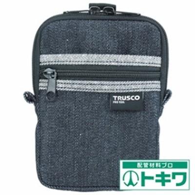TRUSCO デニムコンパクトケース 2ポケット ブラック TDC-K102 ( 7689969 )
