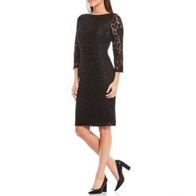 ジェシカハワード レディース ワンピース トップス Lace 3/4 Sleeve Ruched Waist Sheath Dress