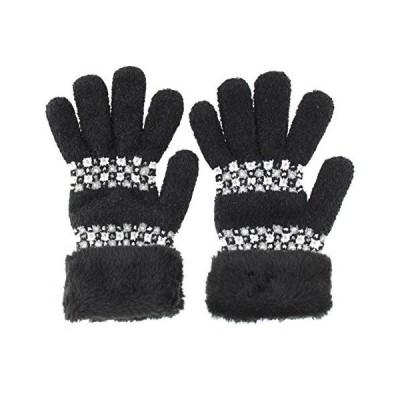 ふわふわのびのびあったかスマホ対応手袋 市松風の柄 日本製 ブラック F