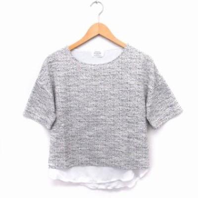 【中古】グリーンレーベルリラクシング ユナイテッドアローズ ニット セーター シャツ見せ ラメ混 丸首 半袖 グレー