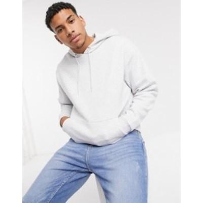 エイソス メンズ パーカー・スウェット アウター ASOS DESIGN oversized hoodie in white marl White marl
