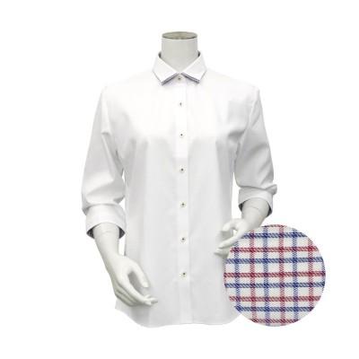 【トーキョーシャツ】 形態安定 ワイド衿 七分袖ビジネスシャツ レディース シロ M TOKYO SHIRTS