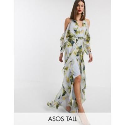 エイソス レディース ワンピース トップス ASOS DESIGN Tall cold shoulder maxi dress in mint floral print Mint floral