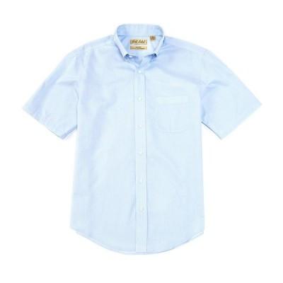 ランドツリーアンドヨーク メンズ シャツ トップス Gold Label Roundtree & Yorke Perfect Performance Short-Sleeve Non-Iron Solid Dobby Sportshirt Blue