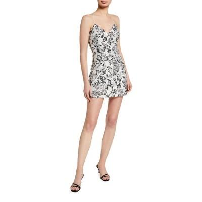アリス アンド オリビア レディース ワンピース トップス Tayla Structured Lantern Mini Dress