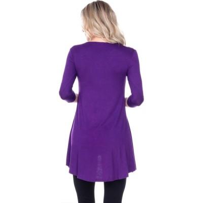 ホワイトマーク White Mark レディース チュニック Vネック トップス Embellished V-Neck Luna Top Tunic - purple