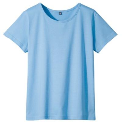 インド綿半袖Tシャツレディース/サックスブルー/M