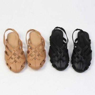 サンダル 編み込み メッシュ バックストラップ フラット レディース ぺたんこ ペタンコ 黒 ブラック ベージュ 靴 婦人靴 歩きやすい 痛くない