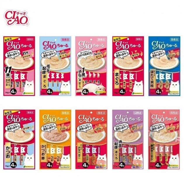 日本CIAO-SC-75美味貓啾嚕肉泥【單包12-14g*4P-內有四條小包 多種口味隨機出貨】