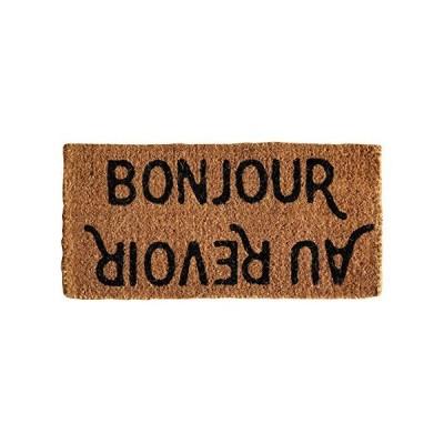 """Creative Co-op Bonjour/Au Revoir Natural Coir Doormat, 32"""" x 16"""""""