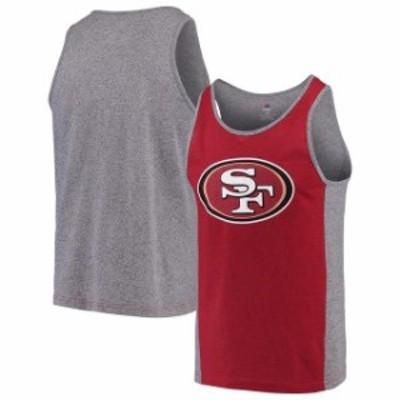 Majestic マジェスティック 服 タンクトップ Majestic San Francisco 49ers Scarlet/Gray Iconic Shattered Record Tank Top