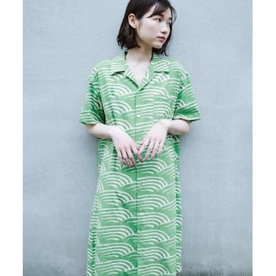 (haco!/ハコ)京都の浴衣屋さんと作った浴衣生地のシャツワンピース/レディース グリーン