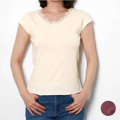【限定300セット 2枚組】レース使いフレンチ袖リブTシャツ(7DAYS IN LOUNGE)